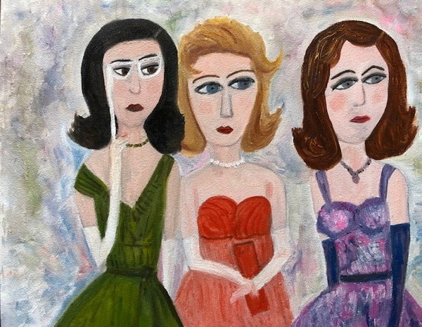 Image of Society girls. Original oil painting.