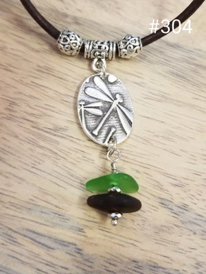 Image of Fine Silver- Dragonfly Pendant- Handmade- Sea Glass- Necklace- #304