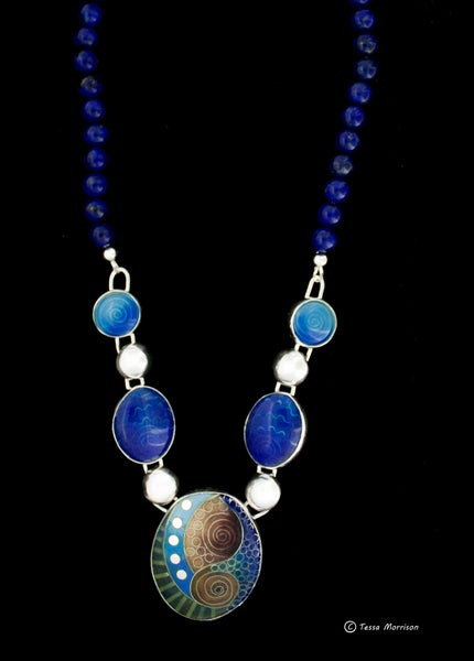Image of Cloisonné and Basse Taille Enamel Necklace with Lapis Lazuli