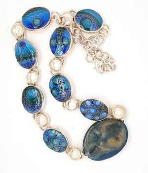 Image of Polish Agate with six Cloisonné Enamels Necklace