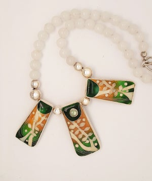 Image of Tranquil: Cloisonné Enamel, Silver, Green Zircon and White Jade Necklace