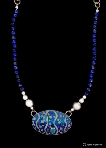 Image of Cloisonné Enamel Necklace with Blue Topaz Cabochons and Lapis Lazuli beads