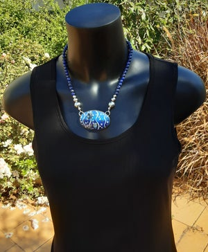 Image of Cloisonné Enamel Necklace with Blue Topaz Cabochons and Lapis Lazuli beads