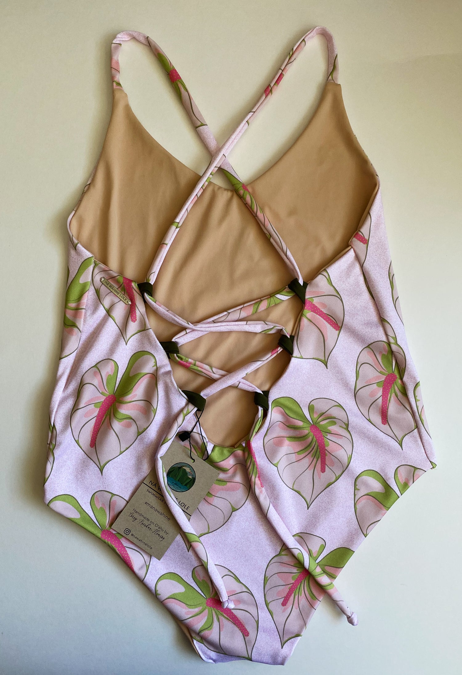 Image of Ready to ship- S-XL pink/green anthurium moe one piece