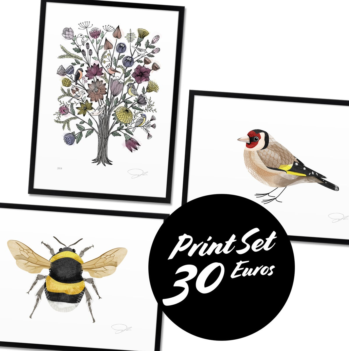 Image of Print Set: Birds and Bees