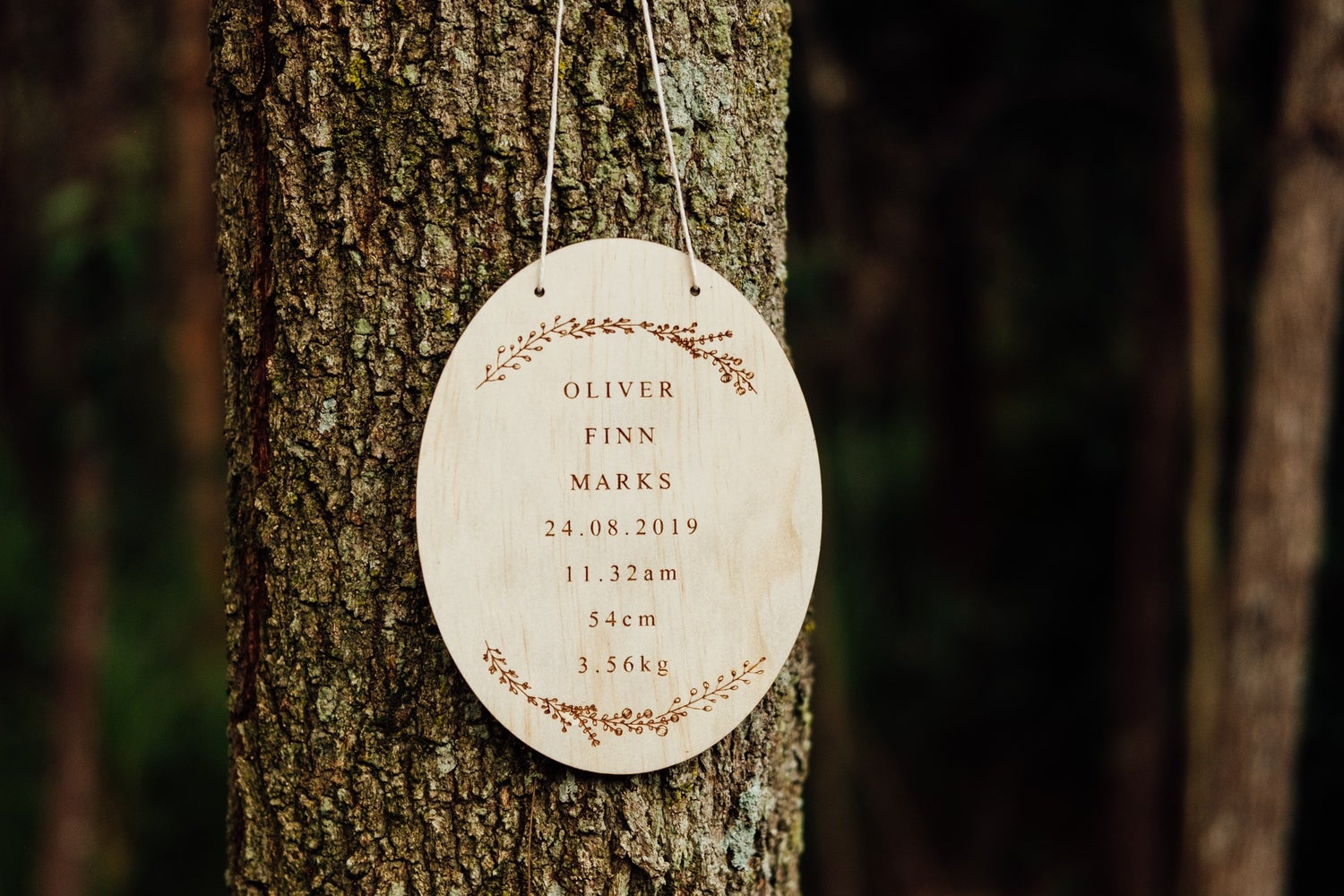 Image of OVAL ETCHED NAME & BIRTH DETAILS PLAQUE