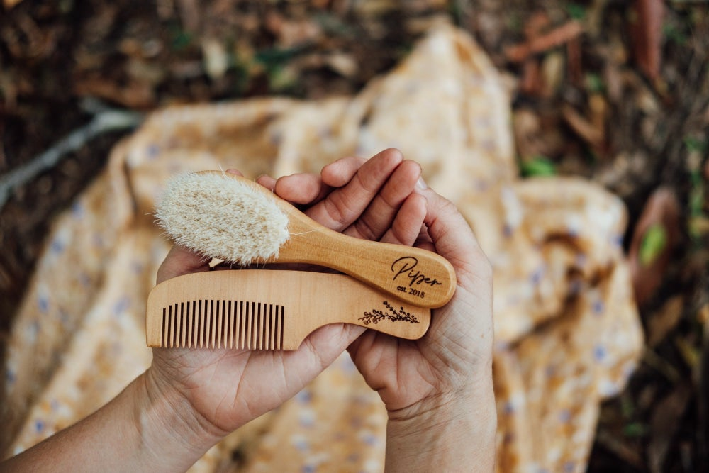 Image of TIMBER BRUSH & COMB KEEPSAKE SET