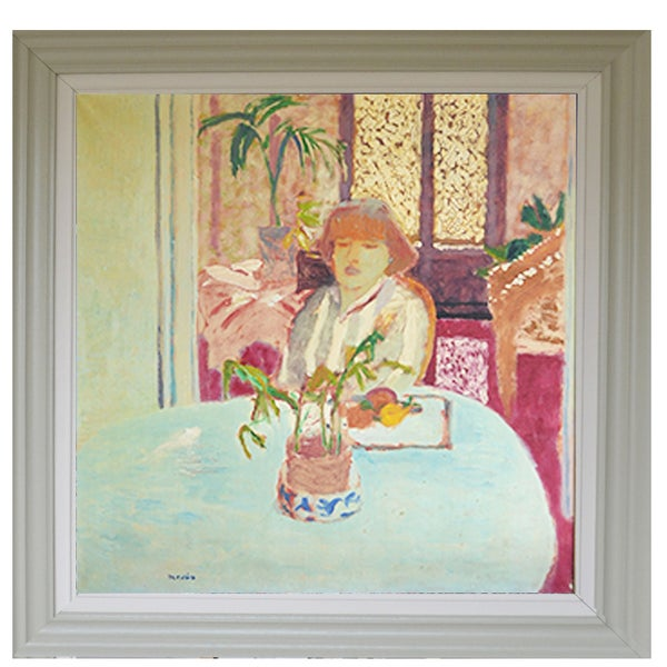 Image of Late 20th Century Spanish Painting 'Girl at a table' Roberto Ortuño