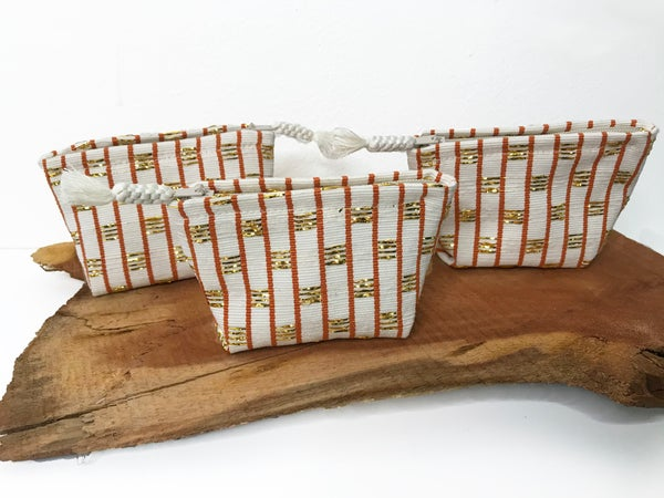 Image of Woven Creme/Gold Accessory Pouch