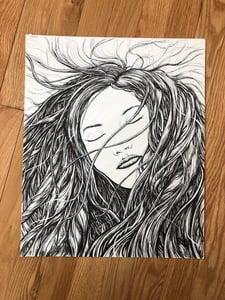 Image of Hair flowing eyes closed