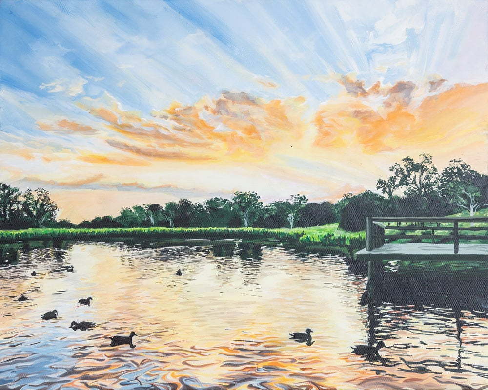 "Image of ""Minnippi Duck Pond"" - Original artwork"