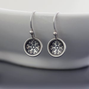 Image of Tiny Sterling Silver Spiro Lace Earrings