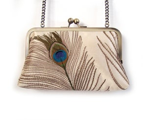 Image of Ivory peacock feather silk clutch bag