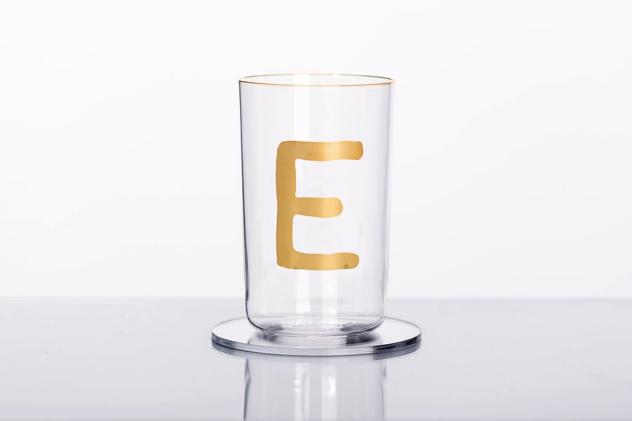 Image of VERBA water glass with Latin letter E in gold