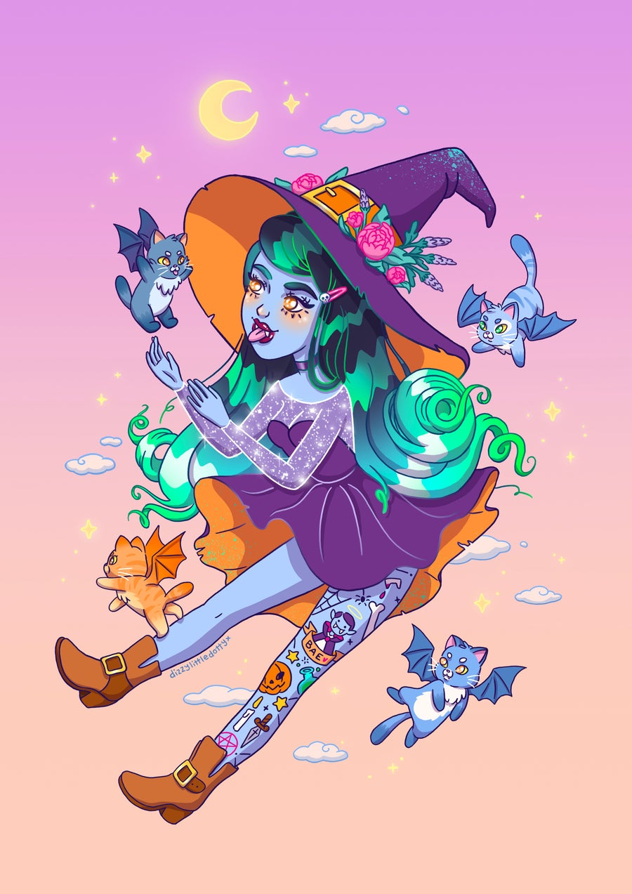 Image of Cat Witch Print