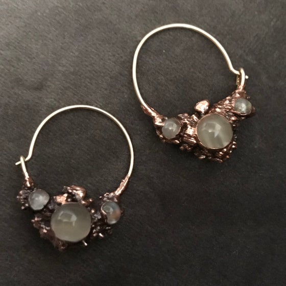Image of MOONSTONE hoop earrings