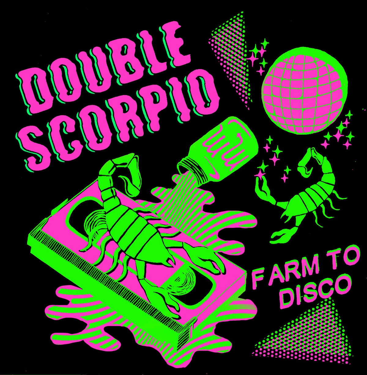 Image of Double Scorpio Neon Green. CASSETTE SHIRT