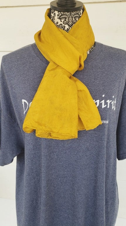 Image of  Old Gold, hand dyed silk scarf