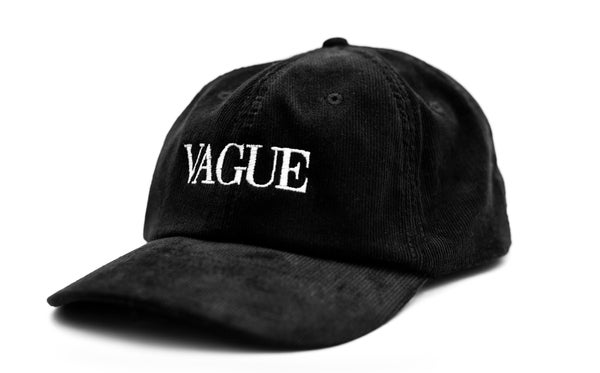 Image of Vague - Vogue Cord Hat - Black with White Font
