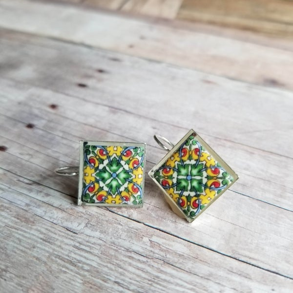 Image of Mediterranean Tile Earrings - Green + Yellow + Red)
