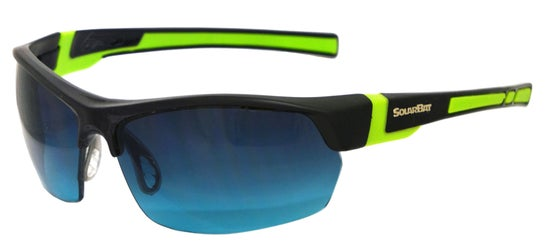Image of AMF 154 unisex black/green frame plus soft pouch and hard case.