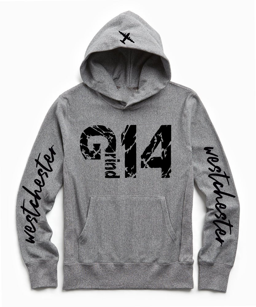 Image of EXLUSIVE BLACK GREY BURGUNDY WHITE GRIND 1.4 WESTCHESTER SCRIPT HOODIE