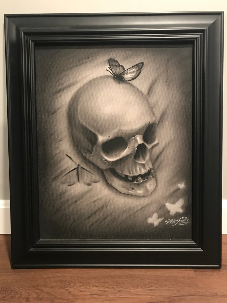 Image of Skull and Butterfly Original