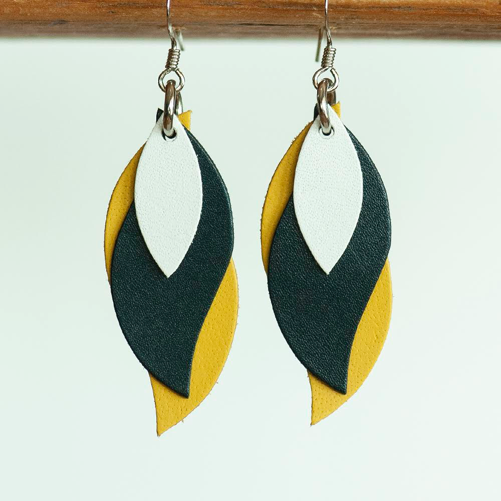 Image of Handmade Kangaroo leather leaf earrings - white, dark navy, yellow [LYN-199]