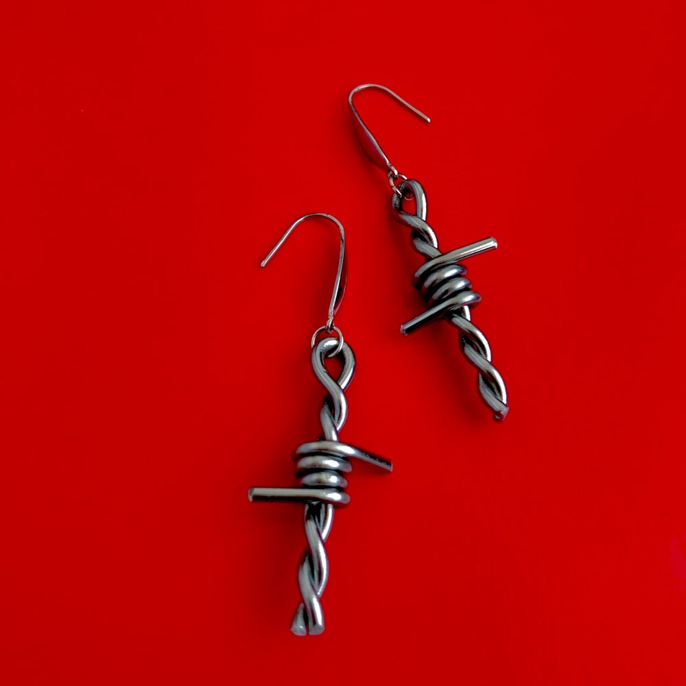 Image of BARBED WIRE DROP EARRINGS