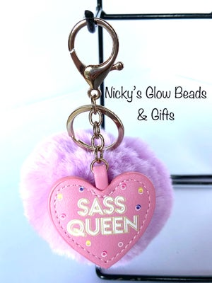 Image of Pom Pom & heart key ring.