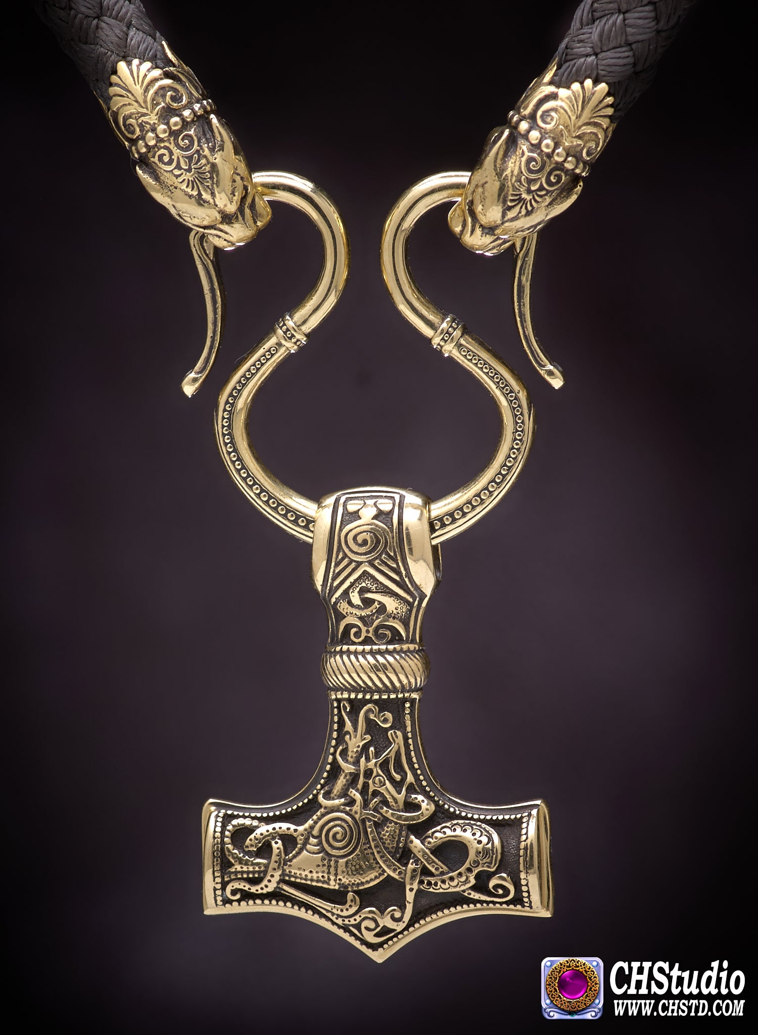 Image of Thor's Hammer : MJOLNIR + Pantera Heads Paracord Necklace