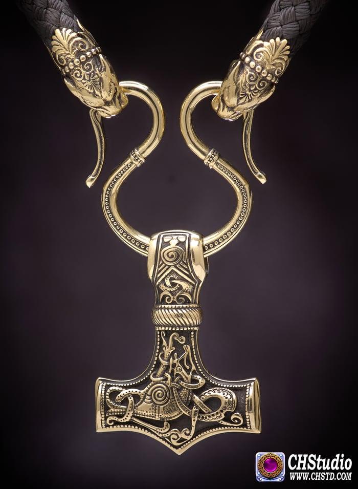 Thor's Hammer : MJOLNIR + Pantera Heads Paracord Necklace