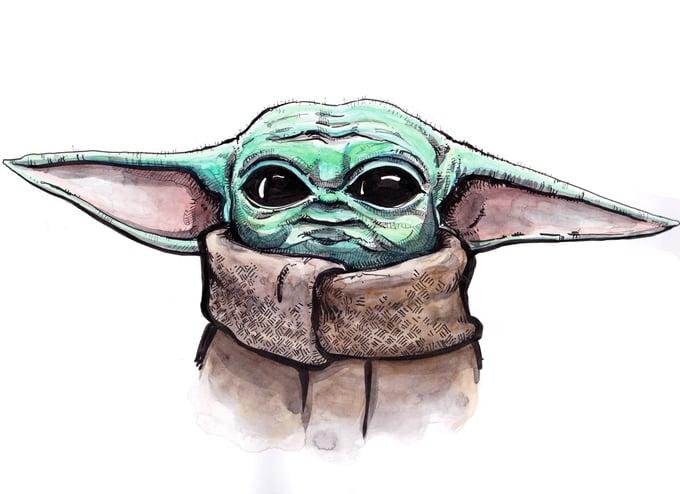 Image of Baby Yoda Lookin Cute