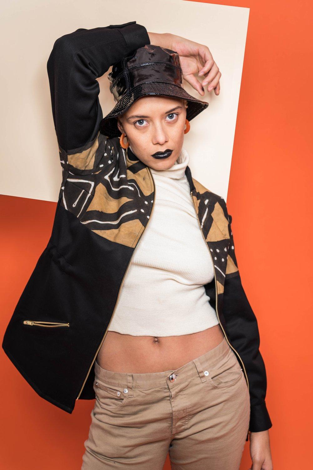 Image of Veste Bogolan Noir Femme