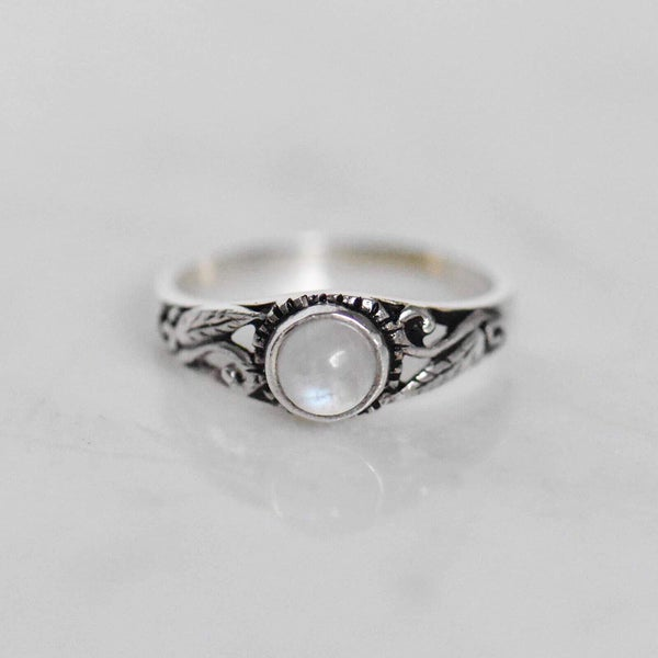Image of Small Rainbow Moonstone vintage ring