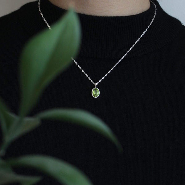Image of Natural Vietnam Periot oval cut necklace