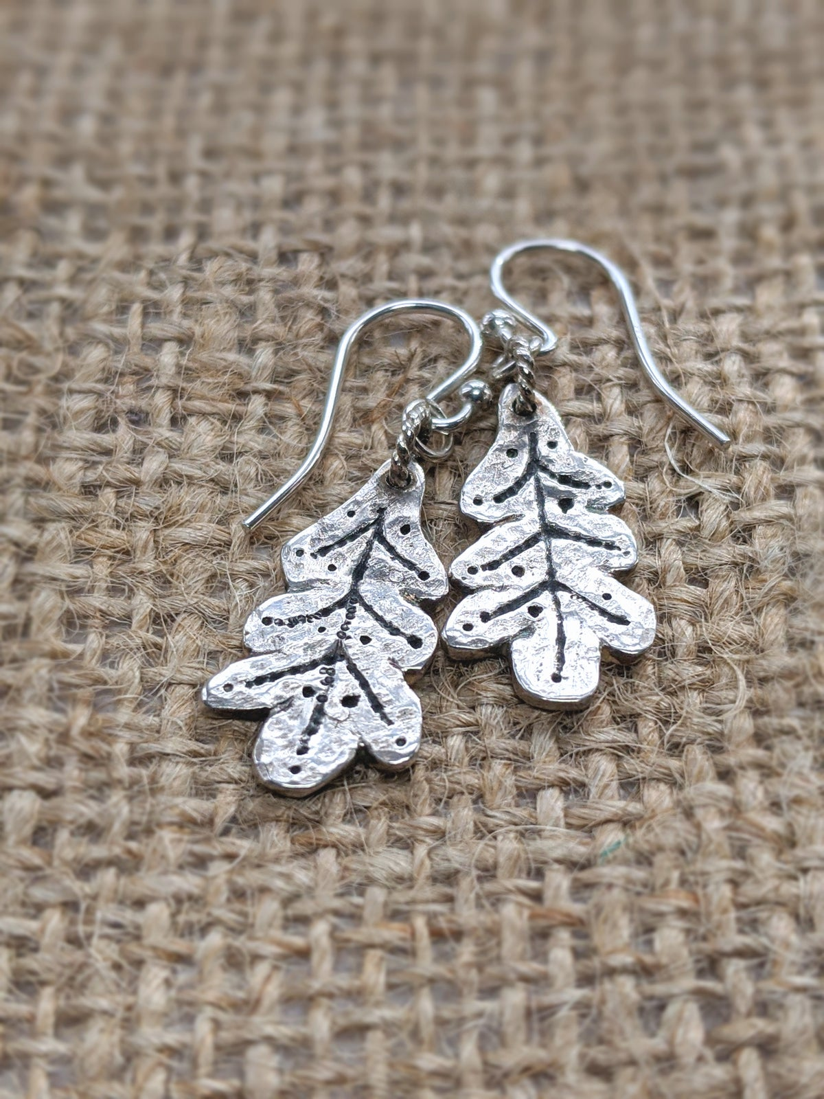 Oak Leaves hammered recycled silver earrings