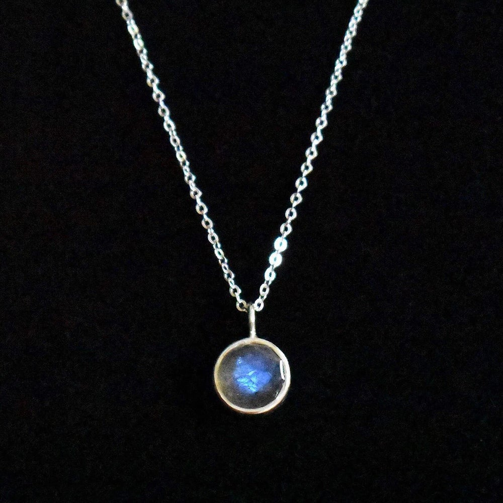 Image of Labradorite rose cut silver necklace