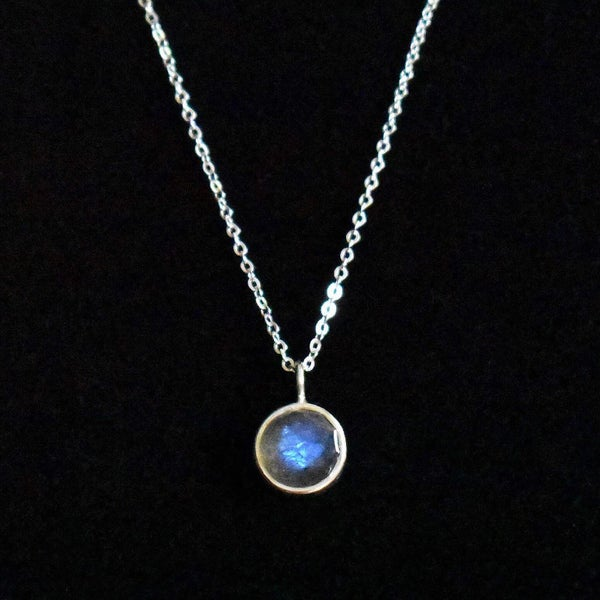Image of Labradorite Moonstone rose cut silver necklace