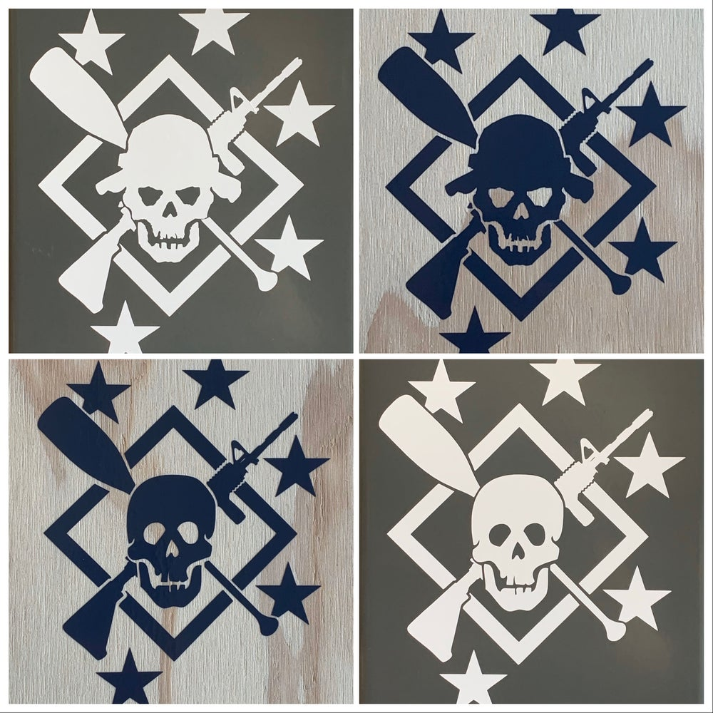 Image of Large Cross Rifle/Paddle Transfer Decals
