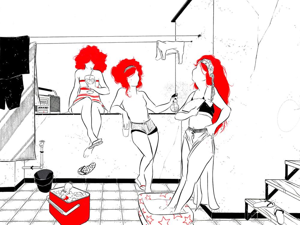 """Image of """"A la fresca y en buena compañía"""" (Ilustración original)"""