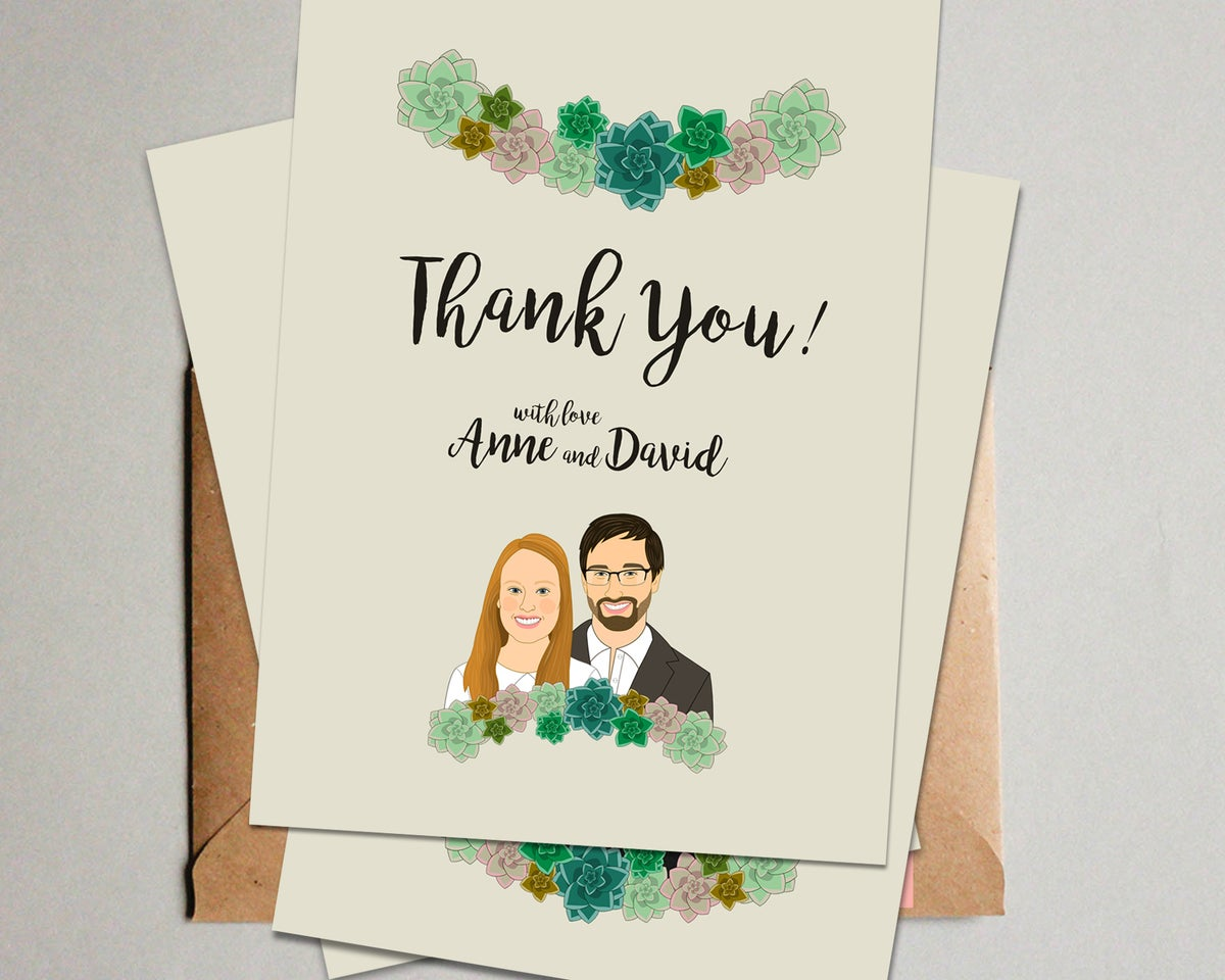 Image of Succulents Wedding Invitation Set. 3 pieces. Save the date, RSVP, Thank you card.
