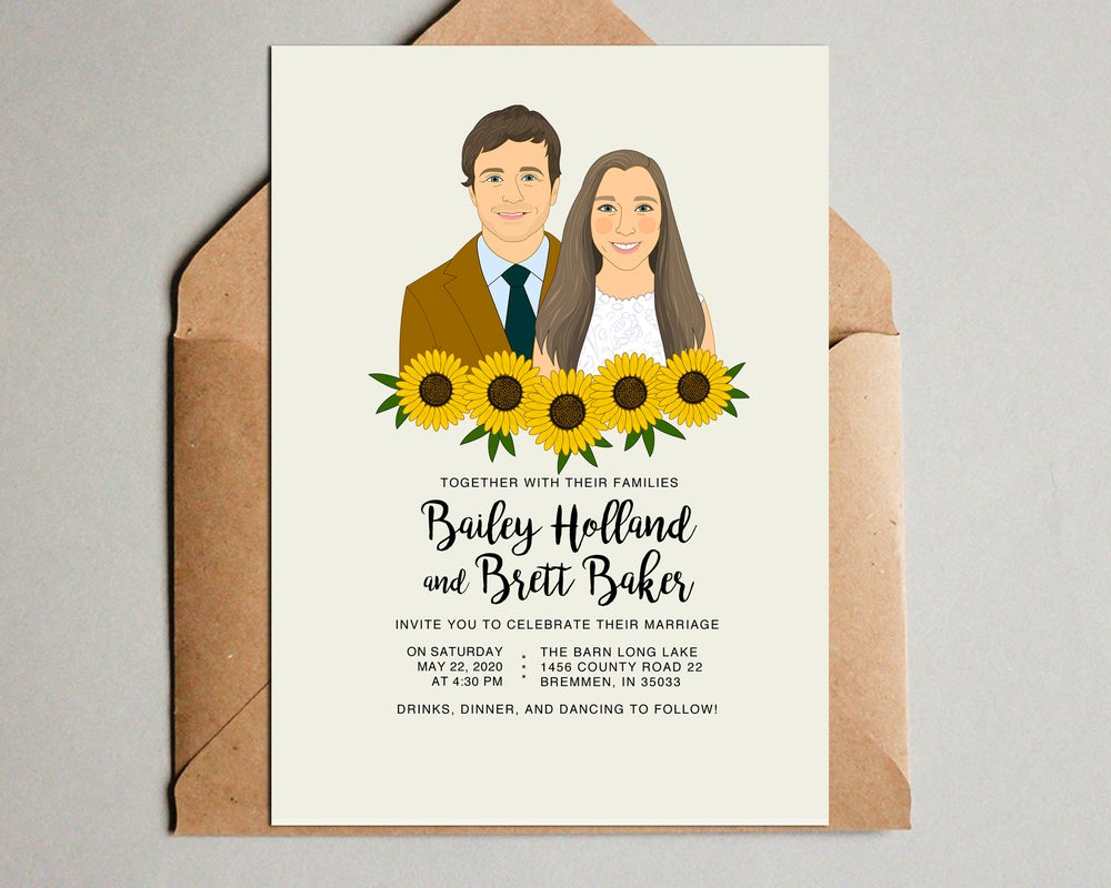 Image of Sunflowers Wedding Invitation Set. 3 pieces. Save the date, RSVP, Thank you card.