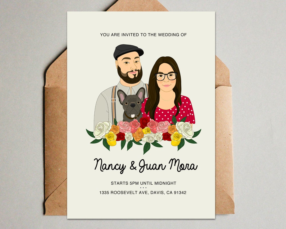 Image of Roses Wedding Invitation Set with. 3 pieces. Save the date, RSVP, Thank you card.