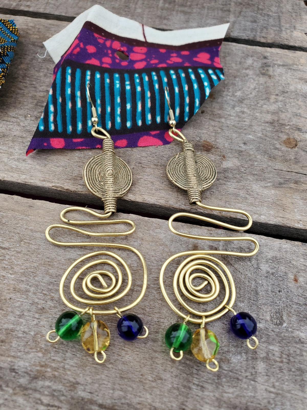 Image of Hiero Earrings (Blue, Gold, Green)