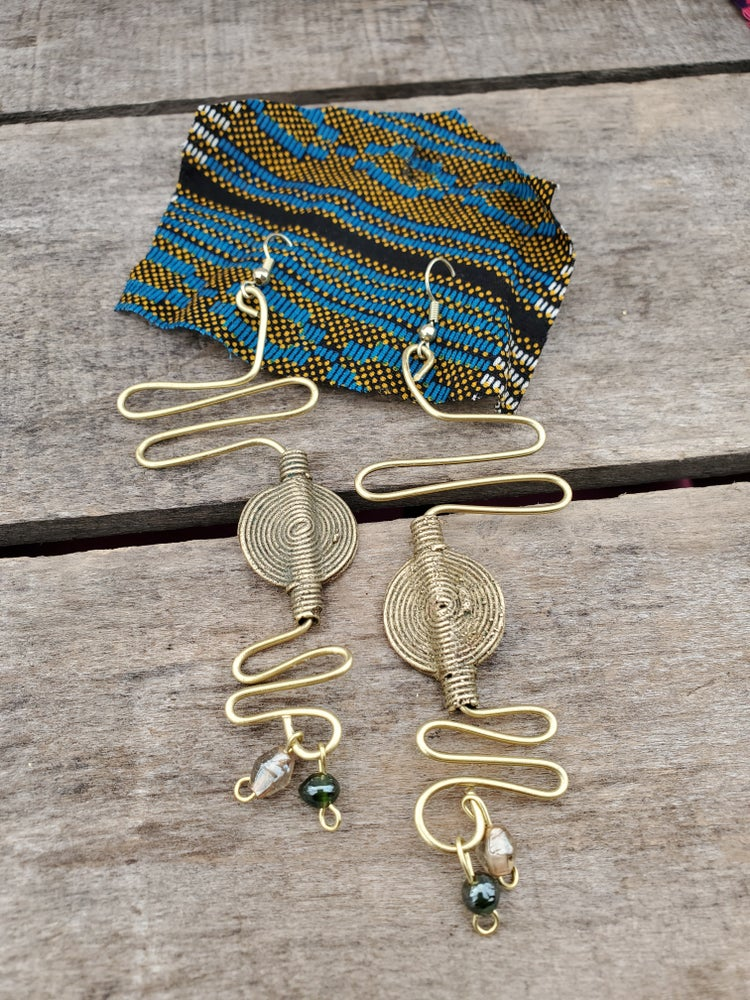 Image of Hiero Earrings (Green, Gold)