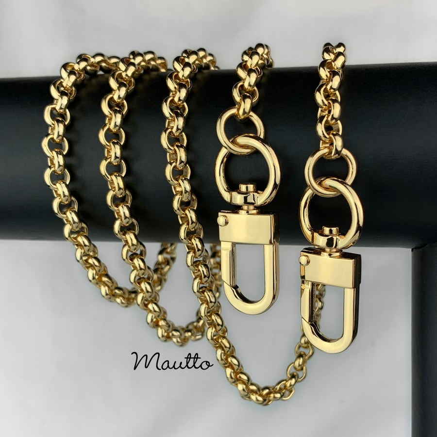 "Image of GOLD Chain Luxury Strap - Classic Rolo Chain - 1/4"" (7mm) Wide - Choose Length & Clasps"