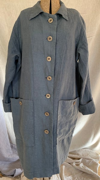 Image of linen trench coat in steel blue