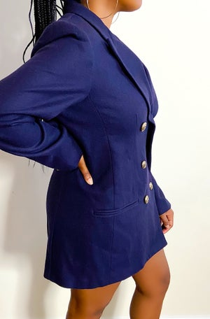 Image of Vintage Chic Navy and Gold Blazer/Mini-Dress - M