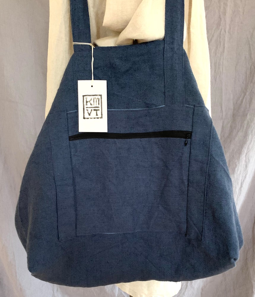 Image of linen tote blue